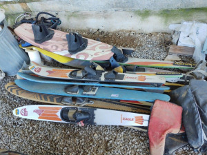 Assortment of Skis, Wake Board, Life Vests & More