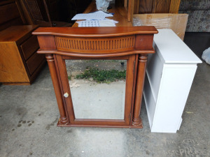 "Wood Medicine Cabinet With Mirror:  29"" w x 33"" h x 7"" d"