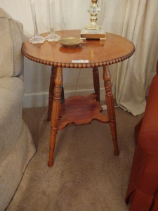"Round Side Table (contents on top not included), 24"" diameter x 29"" tall"