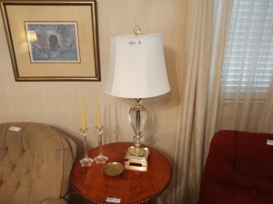 "Table Lamp (30"" tall) With (2) Candleholders"