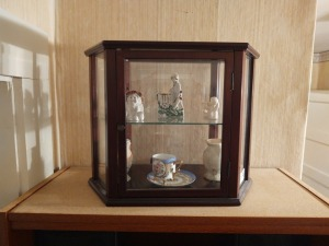 2-Shelf Enclosed Display Case With Figurines, Tea Cup/Saucer & Small Ewers