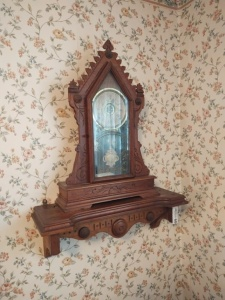 "Vintage Mantle Clock & Wall Shelf, 22"" tall"