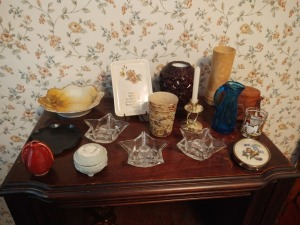 Assortment Of Candle Holders, Small Pitcher, Small Bowl & Cameo Trinket Box