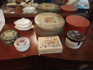 Trinket Boxes With Treasures & White Milk Glass Bowl With Lid