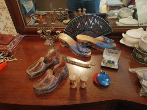 Shoes, Candlestick Holders, Salt/Pepper Shakers, Coin Bracelet & Tie Pins