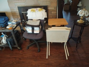 Office Chair, TV Dinner Trays & Contents