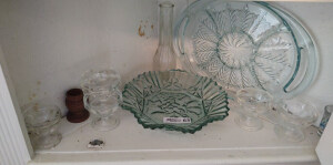 Contents of Bottom Shelf in Corner Cabinet Including Glass Serving Trays, Sherbert Cups & Bud Vase