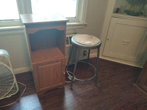 Industrial Stool & Small Cabinet