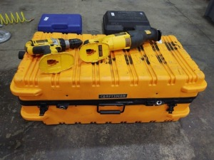 DeWalt Variable Speed Reciprocating Saw (no battery), DeWalt Drill (no battery) & Storage Container