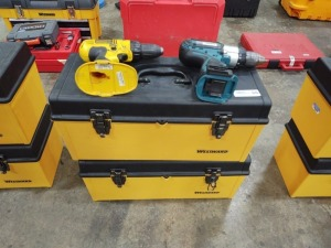 Makita & DeWalt Drill Without Batteries & (2) Westward Toolboxes
