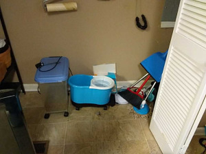 Contents of closet; broom, mop, bucket, etc.