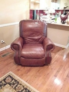 Electric Recliner; believed to be leather