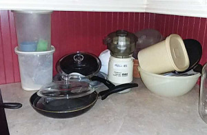Kitchen items; plastic ware, skillets, etc.