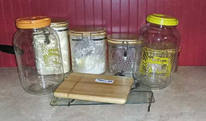 Canisters, tea jugs, cutting board