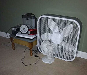 Box fan, table fan, foot stool, etc.