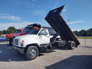 2002 GMC 18' FLATBED DUMP TRUCK; 3126 CAT REPLACED ENGINE WITH  APPROX 150,000 MILES; NEW AIR COMPPRESSOR, CLUTCH, COLD AIR, DISC BRAKES, 5 SP, 2SP REAR END; VIN #1GDJ7H1C42J518421