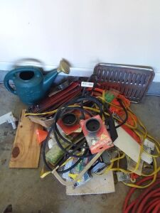 Miscellaneous Lot:  Hand Saw, Oil Filter Wrenches, Extension Cord, Watering Can & More