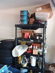 Shelf & Contents:  Battery Charger, Oil, Paint & More