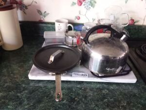 Marble Cutting Board, Covered Sautee Pan, Tea Kettle & Kitchenware