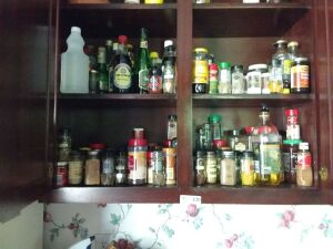 Contents Of Kitchen Cabinets:  Seasonings & Sauces