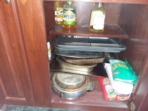 Contents Of Kitchen Cabinet:  Baking Pans & Trays