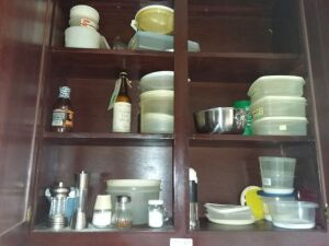 Contents Of Kitchen Cabinet:  Plastic Storage Bowls With Lids