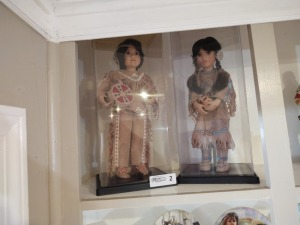 (2) Porcelain Native American Dolls In Display Cases