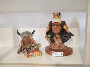 (2) Small Native American Busts