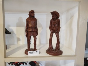 (2) Wooden Carved Figures By Red Mill Mfg.