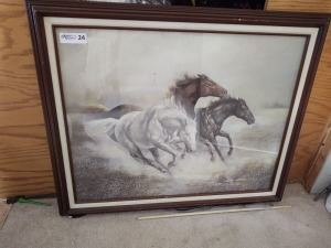 Large running horses picture; 33x27