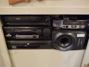 Electronics - RCA VCR, Phillips 5 disc changer DVD player, Philips digital cinema sound center, Philips powered subwoofer & Hitachi vcr