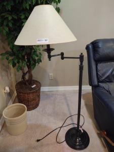 "Black floor lamp; 53"" tall with lamp shade"