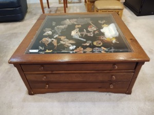 Shadow box coffee table with western decor