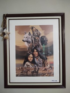 "Large Indian picture framed and matted; 32""x26.75"""
