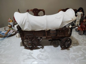 Decorative covered wooden wagon