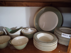 Light green trimmed in gold dish set
