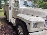 1985 Ford Bucket Truck; VIN #1FDWK74N2FVA73008; 243,658 miles; bucket has capacity of 340 lbs. and shows 7654 hrs. (selling from Fowler Auction's lot in Toney, AL); Bill Of Sale Only; Buyer will pay taxes at courthouse - 2