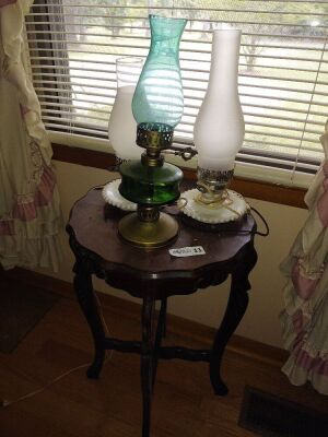Vintage Parlor Table With (3) Hurricane Lamps