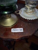 Vintage Parlor Table With (3) Hurricane Lamps - 2