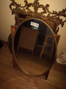 Large Oval Framed Wall Mirror & Framed Prints