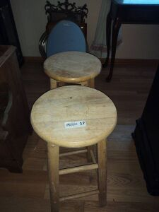 (2) Wood Bar Stools
