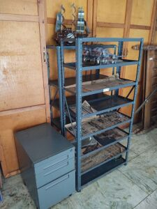 Metal Shelves With Contents & Small Metal File Cabinet
