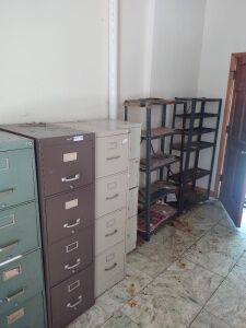 (4) 4-Drawer Metal File Cabinets & (2) Metal Shelving Units