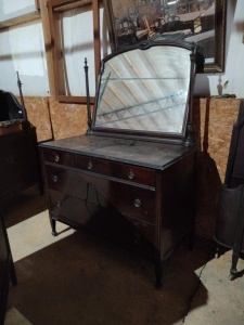 "DRESSER WITH MIRROR (MAY BE ATLAS FURNITURE COMPANY)approx. 47"" x 22"" x 36"", mirror approx. 38"" x 31"""