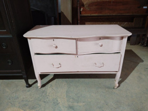 "SMALL 30DRAWER PAINTED DRESSER ON WHEELS, approx. 40"" x 20"" x 31"""