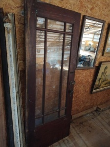 "VINTAGE DOOR WITH GLASSS PANES, approx. 80"" x 32"""