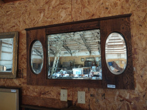 "(3) BEVELED EDGE MIRRORS IN WOOD FRAME, approx. 45"" x 26"""
