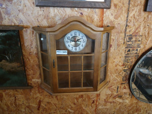 "CURIO CABINET WITH CLOCK, approx. 21"" x 22"""