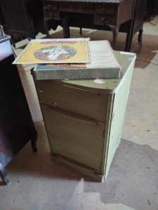 "2-DRAWER SORTING CABINET (approx. 15"" x 15"" x 26 ) WITH VINTAGE ALBUMS"