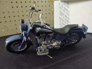 "HARLEY-DAVIDSON DIE-CAST REPLICA, ""BLUE MISSILE"" BY THE FRANKLIN MINT"